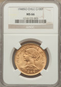 Chile, Chile: Republic gold 100 Pesos 1948 MS66 NGC,...