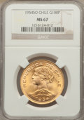 Chile, Chile: Republic gold 100 Pesos 1954-So MS67 NGC,...