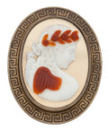 Estate Jewelry:Brooches - Pins, Agate Cameo, Yellow Metal Brooch. ...