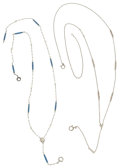 Estate Jewelry:Necklaces, Enamel, Seed Pearl, White Gold, Platinum Necklaces. ... (Total: 2 Items)