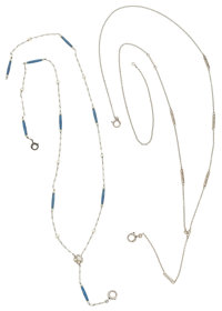 Enamel, Seed Pearl, White Gold, Platinum Necklaces
