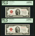 Small Size:Legal Tender Notes, Reverse Changeover Pair Fr. 1506/1505 $2 1928E/1928D Legal Tender Notes. PCGS Very Choice New 64PPQ.. ... (Total: 2 notes)