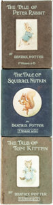 Books:Children's Books, Beatrix Potter. The Tale of Peter Rabbit, The Tale of TomKitten [and:] The Tale of Squirrel Nutkin. London:...(Total: 3 Items)