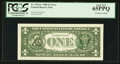 Error Notes:Third Printing on Reverse, Fr. 1914-L $1 1988 Federal Reserve Note. PCGS Gem New 65PPQ.. ...