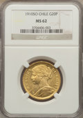 Chile, Chile: Republic gold 20 Pesos 1910-So MS62 NGC,...