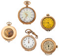 Timepieces:Pocket (post 1900), A Lot Of Five Lady's Pocket Watches For Parts Or Repair. ...(Total: 5 Items)