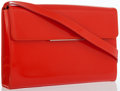 Luxury Accessories:Bags, Yves Saint Laurent Red Patent Leather Clutch Bag with ShoulderStrap . ...
