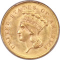 Three Dollar Gold Pieces, 1855 $3 MS64 PCGS. CAC....