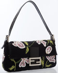 Luxury Accessories:Accessories, Fendi Floral Embroidered Jacquard Baguette Shoulder Bag. ...
