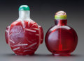 Asian:Chinese, TWO CHINESE GLASS SNUFF BOTTLES. 2-3/4 inches high (7.0 cm). ...(Total: 2 Items)