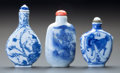 Asian:Chinese, THREE CHINESE PORCELAIN SNUFF BOTTLES. Marks to tallest: (chopmarks). 3 inches high (7.6 cm) (tallest). ... (Total: 3 Items)