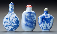 Three Chinese Porcelain Snuff Bottles Marks to tallest: (character mark) 3 inches (7.6 cm) (tallest)  ... (Total: 3 Item...