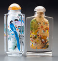 Asian:Chinese, TWO CHINESE REVERSE PAINTED GLASS SNUFF BOTTLES. 3-1/8 inches high(7.9 cm) (taller). ... (Total: 2 Items)