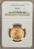 Chile, Chile: Republic gold 50 Pesos 1970-So MS65 NGC,...