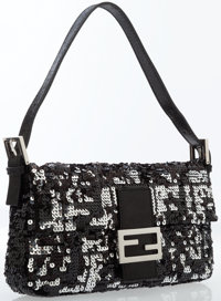 Fendi Black Sequin Baguette Bag
