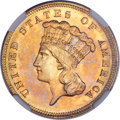 Three Dollar Gold Pieces, 1889 $3 MS65 NGC....