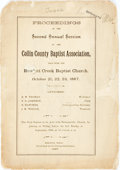 Books:Americana & American History, [Texana] Proceedings of the Second Annual Session of the CollinCounty Baptist Association, Held With the Rowlett Creek ...