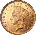 Three Dollar Gold Pieces, 1879 $3 MS64 Prooflike NGC....