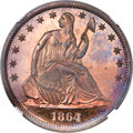 Patterns, 1864 50C Half Dollar, Judd-392, Pollock-460, R.7, PR65 Red and Brown Cameo NGC....