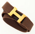 Luxury Accessories:Accessories, Hermes Brown Canvas 'H' Belt with Gold Buckle . ...