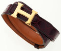 Luxury Accessories:Accessories, Hermes Bordeaux Porosus Crocodile Belt with Gold 'H' Buckle. ...