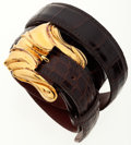 Luxury Accessories:Accessories, Kieselstein-Cord Brown Crocodile Belt with Gold Buckle. ...