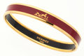 Luxury Accessories:Accessories, Hermes Small Burgundy Enamel Bangle Bracelet with Gold Hardware....
