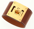 Luxury Accessories:Accessories, Hermes Natural Barenia Kelly Dog Bracelet with Gold Hardware. ...