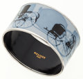 Luxury Accessories:Accessories, Hermes 65mm Blue & Black Enamel Bangle Bracelet with PalladiumTrim . ...