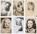 Movie/TV Memorabilia:Autographs and Signed Items, An Actress Group of Signed Small Black and White Photographs,1920s-1960s....
