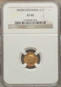Colombia, Colombia: Republic gold Peso 1863-M XF40 NGC,...