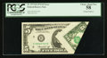 Error Notes:Foldovers, Fr. 1973-H $5 1974 Federal Reserve Note. PCGS Choice About New 58.....