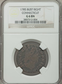 1785 COPPER Connecticut Copper, Bust Right Good 6 NGC. NGC Census: (3/63). PCGS Population (1/65). ...(PCGS# 316)