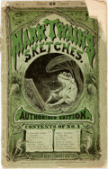Books:Literature Pre-1900, [Mark Twain]. Mark Twain's Sketches. With illustrations byR.T. Sperry. New York: American News Company, 1874. First...