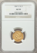 Liberty Quarter Eagles, 1847-C $2 1/2 AU50 NGC. Variety 1....