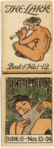 Books:Literature Pre-1900, [Bound Literary Periodical]. The Lark. San Francisco:William Doxey, 1896, 1897. Two octavo volumes, with original p...(Total: 2 Items)