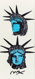 Pin-up and Glamour Art, PETER MAX (American, b. 1937). Lady Liberty. Marker onpaper. 21.5 x 9.75 in. (sight). Signed on bottom edge. ...