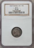 Bust Dimes, 1829 10C Small 10C VF35 NGC. JR-3. NGC Census: (4/258). PCGSPopulation (10/244). Mintage: 770,000. Numismedia Wsl. Price f...
