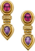 Estate Jewelry:Earrings, Theo Fennell Tourmaline, Amethyst, Gold Earrings. ...