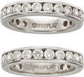 Estate Jewelry:Rings, Precision Set Diamond, Platinum Eternity Rings. ... (Total: 2Items)