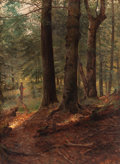 Fine Art - Painting, American:Antique  (Pre 1900), THOMAS MOWER MARTIN (Canadian, 1851-1921). Figure in a ForestClearing. Oil on canvas. 35 x 26 inches (88.9 x 66.0 cm). ...