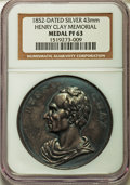 U.S. Presidents & Statesmen, 1852 Henry Clay Memorial PR63 NGC. Silver, 43 mm....
