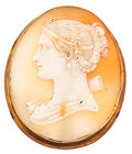Estate Jewelry:Cameos, Shell Cameo, Gold Brooch. ...