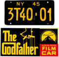 "Movie/TV Memorabilia:Props, A Prop License Plate and Dashboard Display Card from ""TheGodfather.""..."