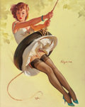 Pin-up and Glamour Art, GIL ELVGREN (American, 1914-1980). Swingin' Sweetie, Brown &Bigelow calendar illustration, 1968. Oil on canvas. 30 x 24...