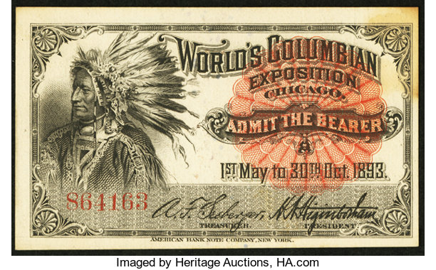 World's Columbian Exposition Native American Ticket 1893