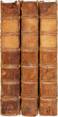 Books:Philosophy, [Francis Bacon]. Opera Omnia. London: R. Gosling, 1730. Three quarto volumes only, of four. Engraved frontispiece po... (Total: 3 Items)