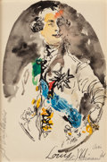 Pin-up and Glamour Art, LEROY NEIMAN (American, 1921-2012). Louis XVI, 1961. Ink,watercolor and pencil and paper. 8 x 5.5 in. (sheet). Signed, ...