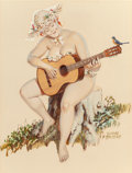 Pin-up and Glamour Art, DUANE BRYERS (American, 1911-2012). Hilda Playing the Guitar,Brown & Bigelow calendar illustration. Watercolor,gouache...