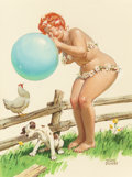 Pin-up and Glamour Art, DUANE BRYERS (American, 1911-2012). Hilda Blowing Up a Balloon,Brown & Bigelow calendar illustration. Gouache and water...